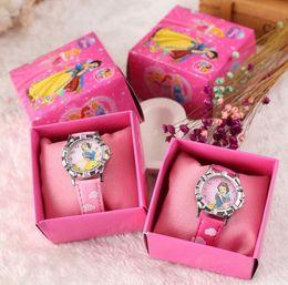 Wholesale Princess Gift Boxes - Free Shipping 12 Pcs Cartoon princess Kids Girls Boys Children Students Quartz Wrist Watch Very Popular have gift box