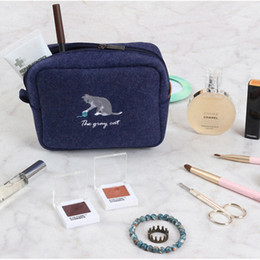 Wholesale feel fox - designer handbag fox embroidered purses square hair felt Cosmetic Bag Makeup Bag Toiletry Bag Organizer Makeup Cases Trousse Maquillage