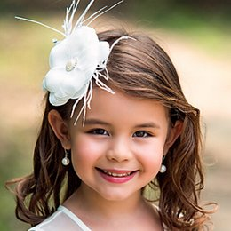 Wholesale Cheap Hairbows - Beautiful Flower Girls Head Pieces White Flowers Floral Beaded Feather Formal Hear Wear Kids' Party Pageant Head Accessories Cheap