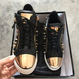 Wholesale Leisure Shoes For Women - 2017 black leather with spikes Rhinestone high top Zanottys leisure shoes for men and women,Gold plate high quality Zanotys casual sneakers