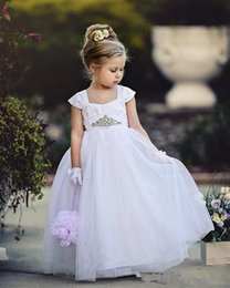 Wholesale Cheap China Girls Dresses - 2017 Cheap White Girls Wedding Party Dress Strap Lace Ball Gown Flower Girl Gown Kids Formal Wear Flower Girl Gown Made In China