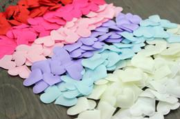 Wholesale Sponge Padding Fabric - 200pcs lot Fabric Felt Heart Shape Applique w Sponge Padded Petal Garment Patches Wedding Table Birday Valentine's Day Decorates