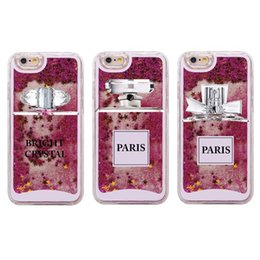 Wholesale Perfumes Paris - Fashion Sexy Paris Perfume Crystal Pattern Liquid Glitter Phone Case Coque for iPhone 6 6S 6Plus 7 7Plus 5 5S SE
