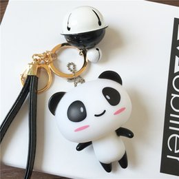 Wholesale Panda Car Accessories - Fashion accessories keychains cute cat 2017 hot sales 10% off great cartoon character panda black pink blue