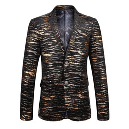 Wholesale Tiger Blazer - top design America style Tiger pattern 3d flowers printed velour mens suits blazers fashion personality jackets stage party clothes