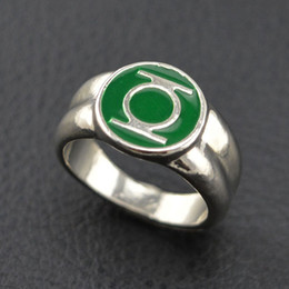 Wholesale Marvel Comics Gifts - 2016 classic alloy green lantern ring silver ring for men superhero dc comics marvel movie jewelry replica men class ring