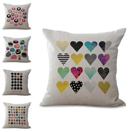 Wholesale Heart Pillow Cover - Colors Geometric Stone Heart Coffee Cup Pillow Case Cushion Cover Linen Cotton Throw Pillowcases Sofa Car Decorative Pillowcover PW692
