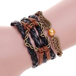 Wholesale Leather Bracelets Heart Wings - Black leather Mens Jewelry wax bracelet pulseiras masculinas Antique Gold heart love Bracelet For Dad Angle Wings pulsera charm bracelets