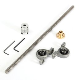Freeshipping Aço Inoxidável T8 parafuso de Chumbo 300mm 8mm latão de cobre porca + Suporte de rolamento de Alumínio Acoplamento Flexível para peças de impressora 3D de
