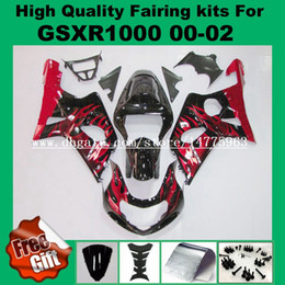 Fibbie rosse nere di gsxr online-Kit carena iniezione per SUZUKI GSXR1000 2000 2001 2002 GSX-R1000 00 01 02 Carenature GSXR 1000 00-02 pre_drilled red flame black