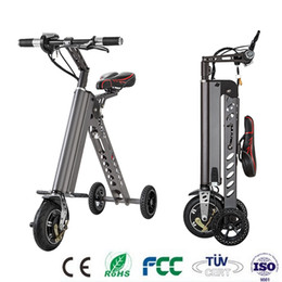 Wholesale Brushless Motor Bicycle - Mini Folding Scooter E-Bike Portable Foldable Electric Bicycle Bike Tricycle Brushless Motor Lithium Battery Lightweight Only 11kg CE FCC