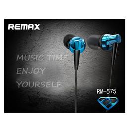 Wholesale Earphones For Iphones - Remax RM-575 Metal Hifi Stereo Sound Earphone Line Control Pure Music Studio for iPhones Samsung Better Marshall Major HBS Headphone Headset