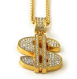 Wholesale Pendant Gold Dollar - Gold Color $ Money Symbol Pendant Hip Hop Bling Crystal Dollar Sign 76cm Gold Link Chain Pendant Necklace Men Women Jewelry