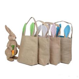 2019 acryl vase großhandel Osterhasen-Beutel-Korb Niedliche Doppelschicht-Häschen-Ohren-Entwurfs-Baumwollleinen-Material-Handtaschen-Osterei-Beutel, der Eier-Geschenk-Handtaschen-Beutel trägt