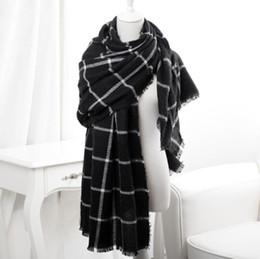 Wholesale Plaid Cashmere Wrap - Fine Cashmere Long Scarf Unisex Classic Plaid Wraps Four Seasons Luxury Scarves 180*65cm 16 Colours Can Mixed