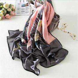Wholesale digital printing silk scarves - Women Silk Scarf Digital Print Big size Shawl & Wrap Luxury Brand Long Soft Foulard New 180x90