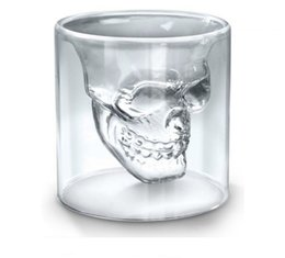 Wholesale Doomed Crystal Skull Head - 75ml Skull Head Shot Glass Cup Doomed Crystal Double Wall Vodka Drinkware Beer Wine Whisky Drinking Glasses Cup Home Bar Party Decoration