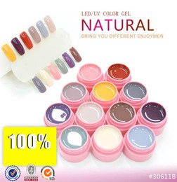 Wholesale Colors Uv Builder Gel - Wholesale-12 Colors LED UV Gel Builder Cover Pure Soak Off Nail Art Tips Kit Natural Series 113-124 CANNI
