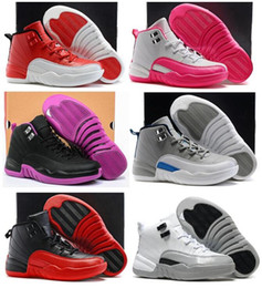 Wholesale Purple Gift Boxes - Boys Girls Retro 12 Kids Basketball Shoes Childrens 12s Gym Red Pink And White Purple French Blue Toddlers Birthday Gift With Shoes Box