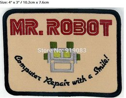 """Wholesale robot halloween costumes - 4"""" MR ROBOT FSOCIETY TV SHOW HIGH QUALITY movie Embroidered Emblem applique halloween costume cosplay"""
