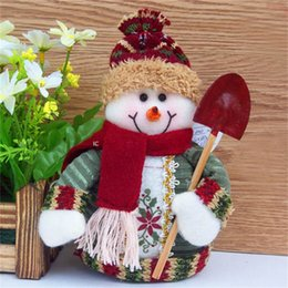 Wholesale Reindeer Christmas Crafts - Wholesale- Snowman Cute Reindeer Santas Claus Christmas Crafts Dolls Cartoon Cotton Table Crasts Doll New Year Xmas Decorations For Home