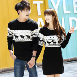 Wholesale yellow sweaters for women - Wholesale- Top Quality christmas sweater for men and women couples matching christmas sweaters for lovers couple Christmas Deer sweaters