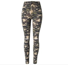 Wholesale Womens Jeans New Arrival - Wholesale- New arrival good quality womens fashion high waist jeans stretch camouflage slim skinny knee ripped beggar pnecil pants