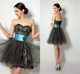 Wholesale Black Prom Dresses Short Peacock - Short Tulle homecoming dresses Sweetheart A-Line Lace-Up Back Wiith peacock Feather MiNi Cheap Prom Cocktail Gown zahy837