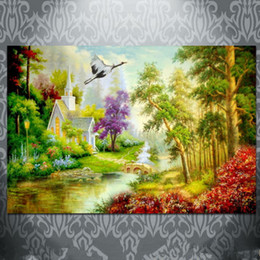 Wholesale Wall Scenery Pictures - Oil Painting Decoration Printed Printing Poster Room Wall Art Print Decorative Picture Decor Cloth for Living Home Sofa Bedroom Scenery