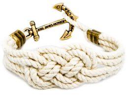 Wholesale Original Agate - Original Logo Fashion Wristband Bronze Braided Anchor Bracelet Bangle Women Men Cotton Rope Hook Bracelet Wholesale 2016