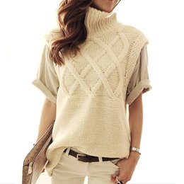 Wholesale Ladies Fall Sweaters - Wholesale-Women's turtleneck thick warm long knit sweaters pullovers female vest 2015 New fall winter lady top sleeveless sweater 0448