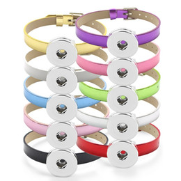 candy bracelet accessories Coupons - NOOSA 18MM Snap button Bracelet Bangle Candy colors Bling 8MM PU Leather Wristband DIY Accessory Bracelet Fit Snap buttons & Slide charms