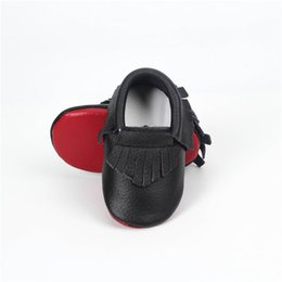 Wholesale Baby Boy Moccasins - SDMOCCS New Red Sole Black baby moccasins soft sole shoes Genuine Leather Toddler Girls Newborn tassel shoes boys girl First Walker
