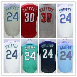 Wholesale Cream Team - 24 Ken Griffey Jr Seattle Baseball Jerseys Team Cream Blue White Gray Green 1979 Turn Back Retro Vintage Shirts Stitched,Size M-XXXL
