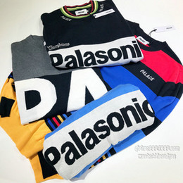 Wholesale England Wool Sweater - 2017 Palace Sweaters new Brand Hip Hop Street palace stripe splicing letters embroidery turtleneck sweaters men women
