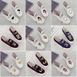 Wholesale Ocean Painting Piece - Hand-painted Canvas Shoes Women's Low Help One Piece Print Cloth Flat Shoes Ladies Card Cartoon Graffiti Flat White Shoes