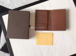 Wholesale Tassel Candy Box - M60181 15 10 2cm Fashion designer clutch famous brand clutch Genuine leather passport wallet with box 60181