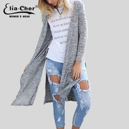 ponchos d'hiver de taille plus Promotion Vente en gros-Cardigan Open Stitch Femmes Sweat 2016 Slim Lady Winter Long Cardigan Knitted Tops Plus Size Casual Poncho Femmes Pull