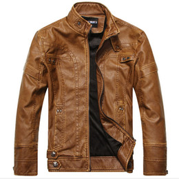 Wholesale Leather Motorcycle Jackets Mens - Wholesale- New arrive motorcycle leather jackets men men's leather jacket jaqueta de couro masculina mens leather jackets men coats H327