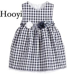 Wholesale Baby Grid Dress - Hooyi Grid Baby Girls Dresses Fashion Children Dress Girl Jumpers Flower Baby Girl Clothes Outfits Princess Infantil Vestidos