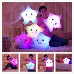 Wholesale New Birthday Gift - Luminous Star Pillow Christmas Toys Led Light Pillow Plush Pillow Hot Colorful Stars Kids Toys Birthday Gift 2107117