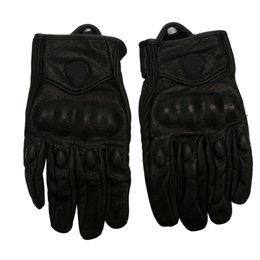 Wholesale Wholesale Leather Motorcycle Accessories - Wholesale- 1Pair Motorcycle Riding Racing Bike Protective Armor Short Leather Gloves MESH Motorcycle Accessories Free Shipping