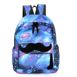 Wholesale Canvas Free Patterns Backpack - Wholesale- 2017 Girls Boys Canvas Backpack Moustache Galaxy School Backpacks Pattern Rucksack Travel Bags School Bookbag Free Shipping N829