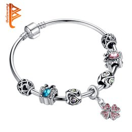 Wholesale Red Crystal Bangles - BELAWANG European Silver Charm Bracelets&Bangles Clear Crystal Charm Beads Authentic DIY Fashion Jewelry for Women Christmas Gift 6.5 cm