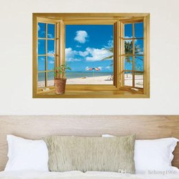 Wholesale Wall Clings For Living Room - Wall Stickers Removable Landscape Wallpaper 3D Originality Mural Art PVC Creative Decal Beach Window View Top Quality 3hl J R