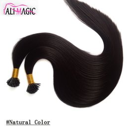 Wholesale Hair Extensions Keratin Brazilian - I Tip Human Hair Natural Black Color 20 22Inch Malaysian Straight Keratin Hair Extensions 100g Hair For Sale