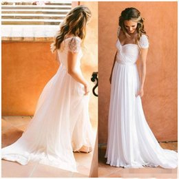 Wholesale Sweetheart Empire Sleeve - Sexy Sweetheart 2017 Wedding Dresses Lace Appliques Backless A Line Empire Cap Sleeve Beading Beach Bridal Floor Length Boho Bridal Gowns