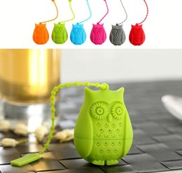 Wholesale Filtration Filters - HOT Owl Tea Bags Strainers Silicone Teaspoon Filter Infuser Silica Gel Filtration