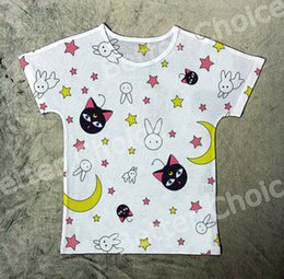 Wholesale Rabbit Tee Shirt - Track Ship+New Printed Retro Vintage T-shirt Top Tee Sailor Moon Cute Black Cat Luna Rabbit Star 1338