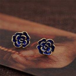 Wholesale Old Flower Plates - Old Beijing Blossom Blue Crafts Women 's Flowers Fancy Earrings